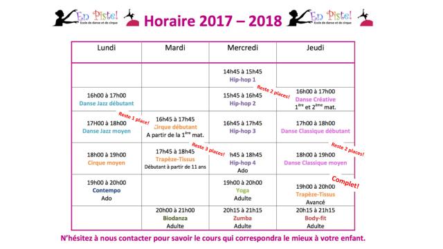 HORAIRE 2017-2018face